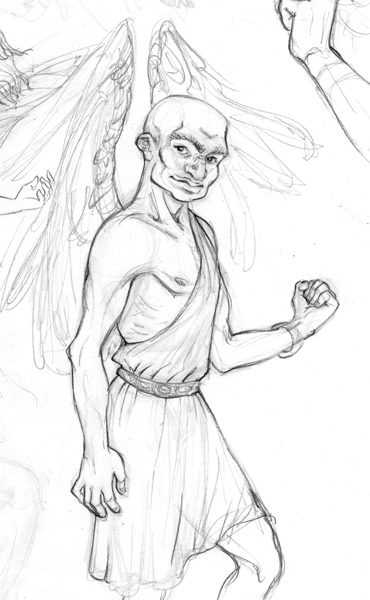 strong angel, pencil drawing