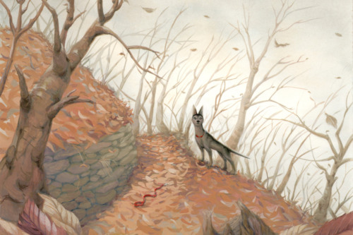 Painting of a dog walking in the woods.