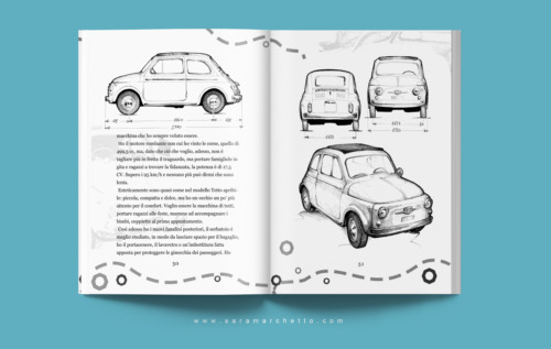 Book layout design and illustrations for 500 Club Italia