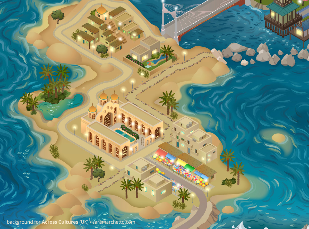 vector illustration for the project Learning Village: the Islands - Across Cultures (UK) - 2020